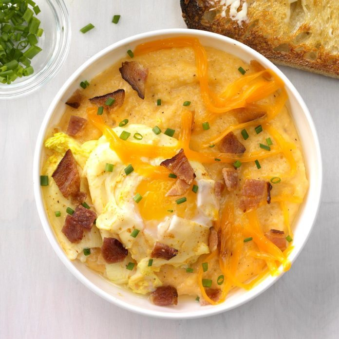 Runner Up: Creamy, Cheesy Grits with Curried Poached Egg