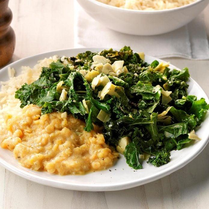 Creamy Lentils With Kale Artichoke Saute Exps Sddj18 205743 D08 08 4b 1
