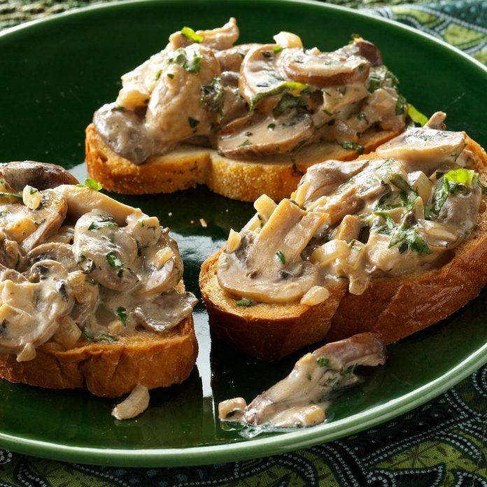 Creamy Mushroom Bruschetta Recipe How To Make It Taste Of Home