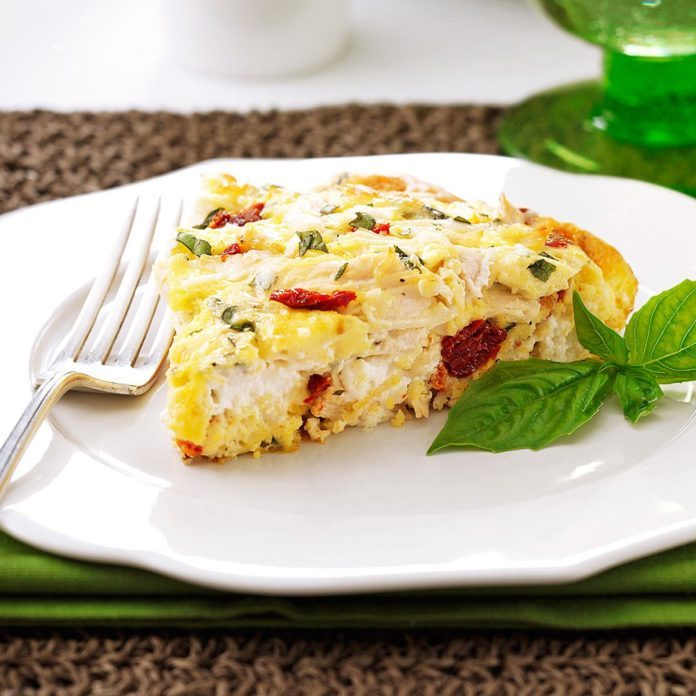 Creamy Sun-Dried Tomato & Chicken Frittata