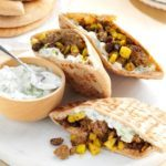 Curried Beef Pitas with Cucumber Sauce