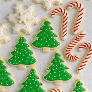 Decorated Christmas Cutout Cookies