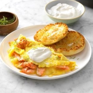 Dilled Salmon Omelets with Creme Fraiche