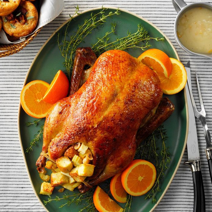 Duck with orange hazelnut stuffing