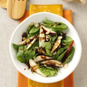 Spinach Pear Salad with Chocolate Vinaigrette