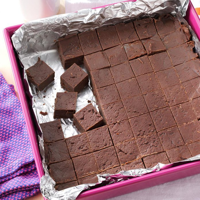 a 9 by 9 inch square pan of microwave chocolate fudge