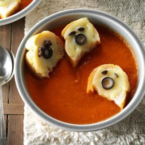 Tomato Soup with Cheesy Ghost Croutons