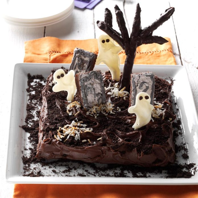 Spooky Snack: Ghosts in the Graveyard Cake