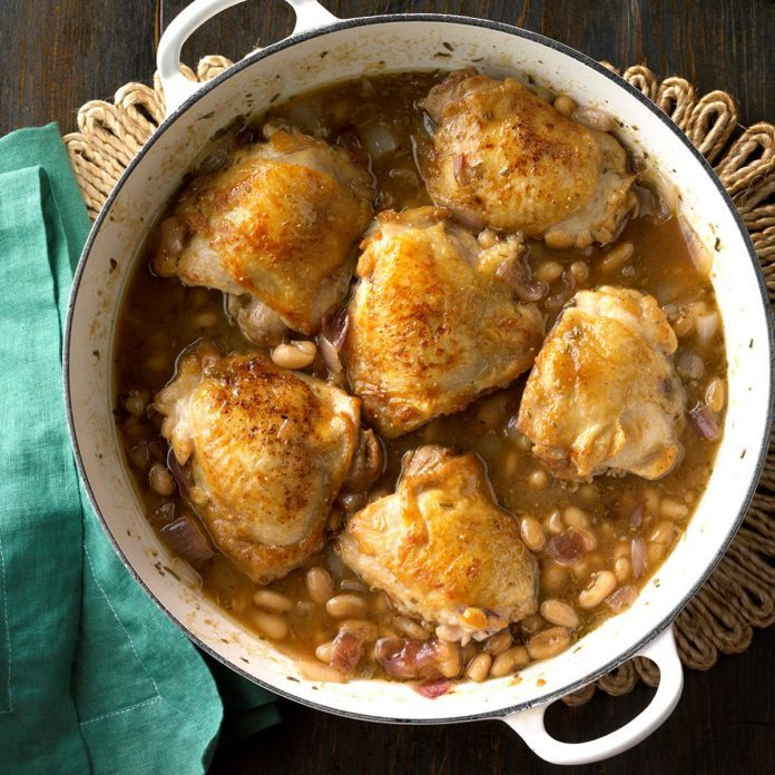 Fig-Glazed Chicken with White Beans