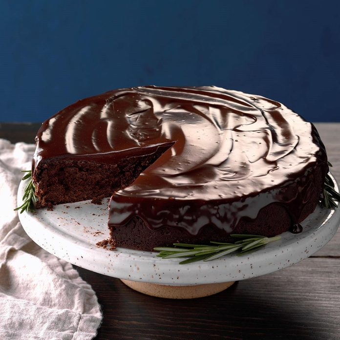 Flourless Chocolate Cake with Rosemary Ganache