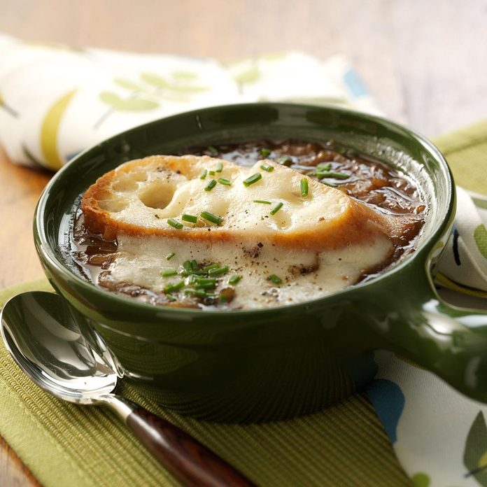 French Onion Soup with Swiss-Topped Toast