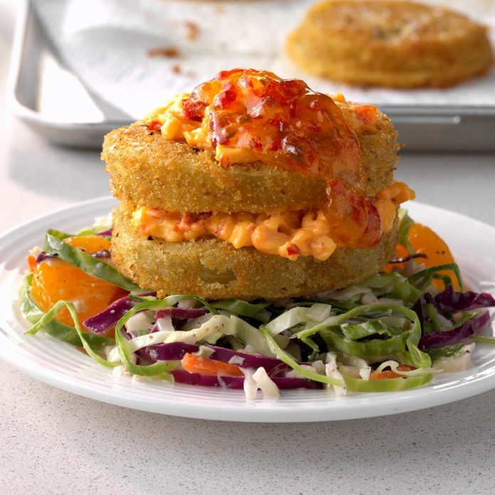 Fried Green Napoleons with Mandarin Coleslaw