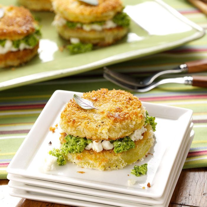 Fried Green Tomatoes with Jalapeno Pesto