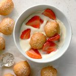 Fritters with Lemon Mousse and Strawberries