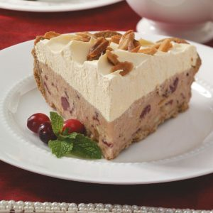 Frozen Cranberry Pie with Candied Almonds
