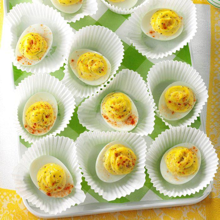 Garlic dill deviled eggs
