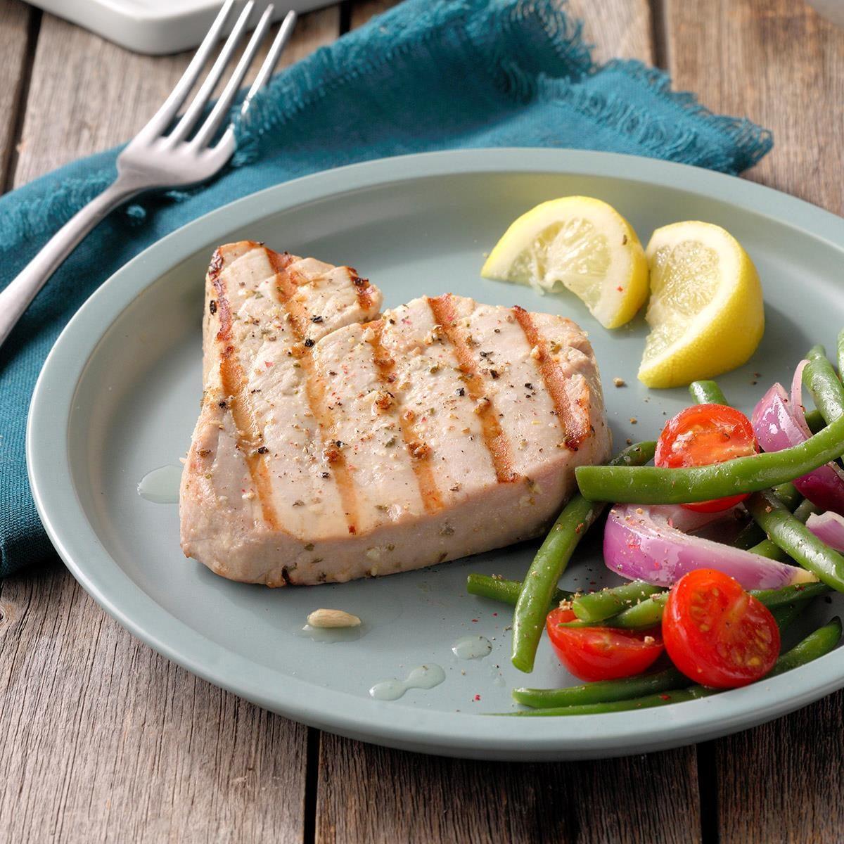 Garlic Herbed Grilled Tuna Steaks Recipe Taste Of Home