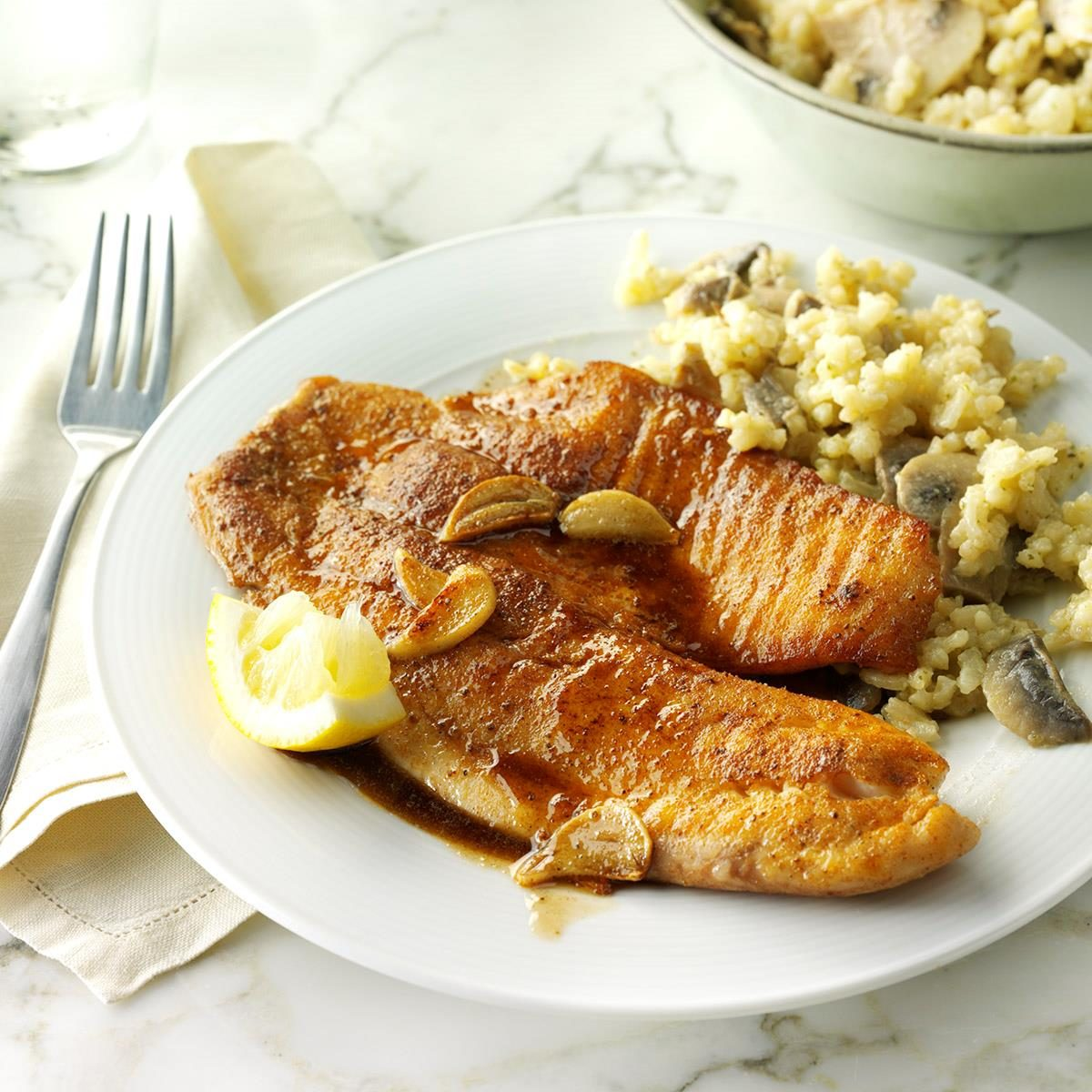 Day 16: Garlic Tilapia with Mushroom Risotto