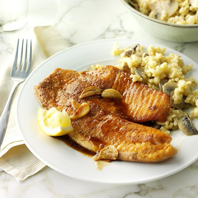 Garlic Tilapia with Mushroom Risotto