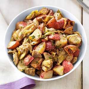 Garlic and Artichoke Roasted Potatoes