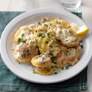 German Schnitzel and Potatoes with Gorgonzola Cream