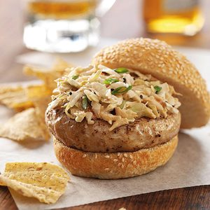 Ginger Chicken Burgers with Sesame Slaw