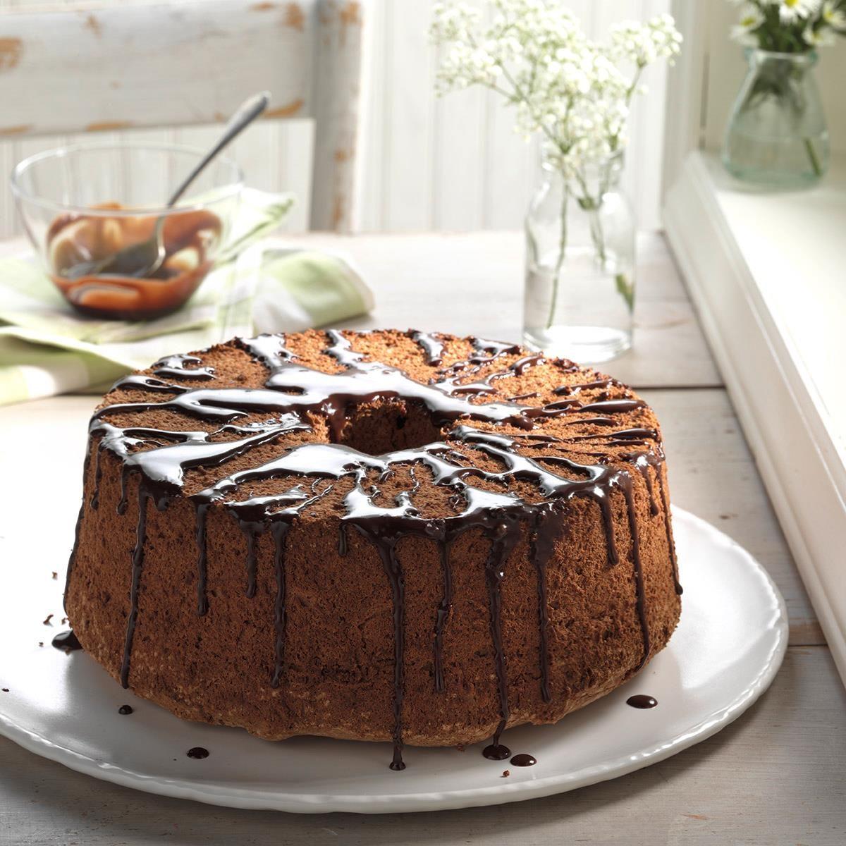 Glazed Chocolate Angel Food Cake