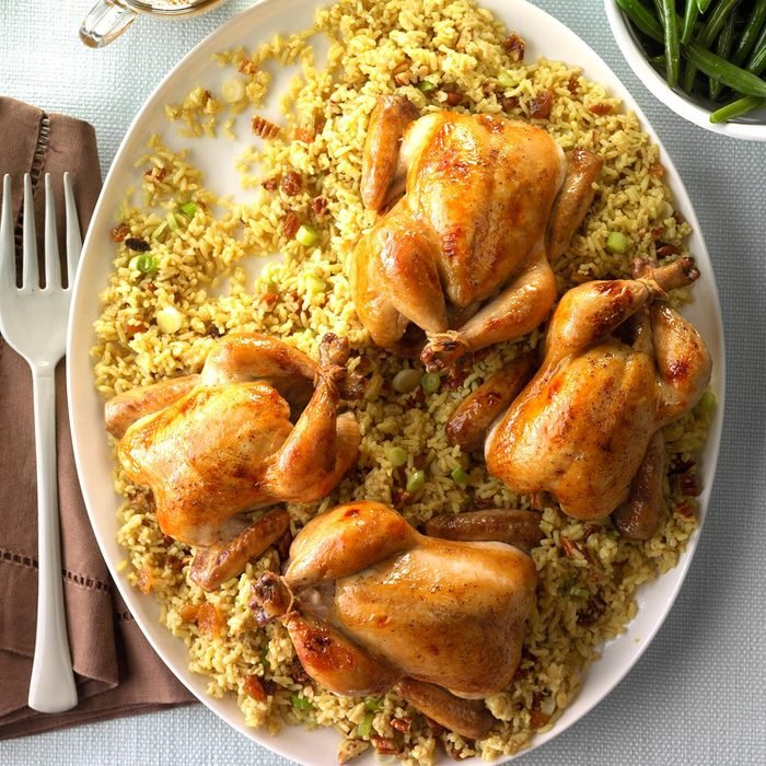 Glazed Cornish Hens with Pecan-Rice Stuffing
