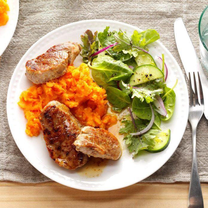 Day 7 Dinner: Pork Tenderloin on Sweet Potato Beds