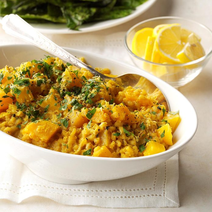 Golden Beet Curry Risotto with Crispy Beet Greens