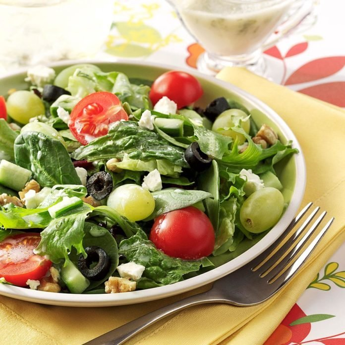 Greek Salad with Green Grapes