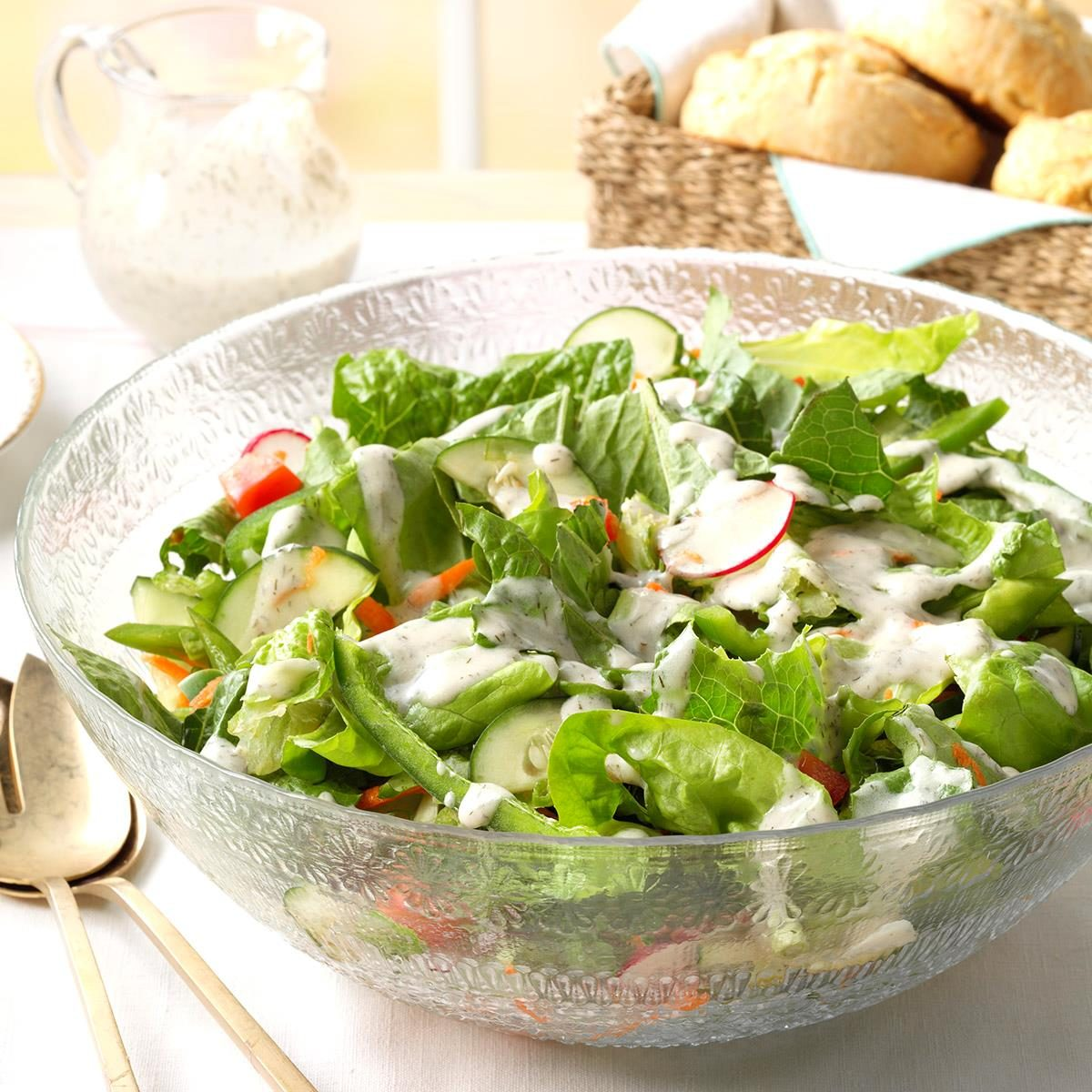 Green Salad With Dill Dressing Recipe How To Make It Taste Of Home