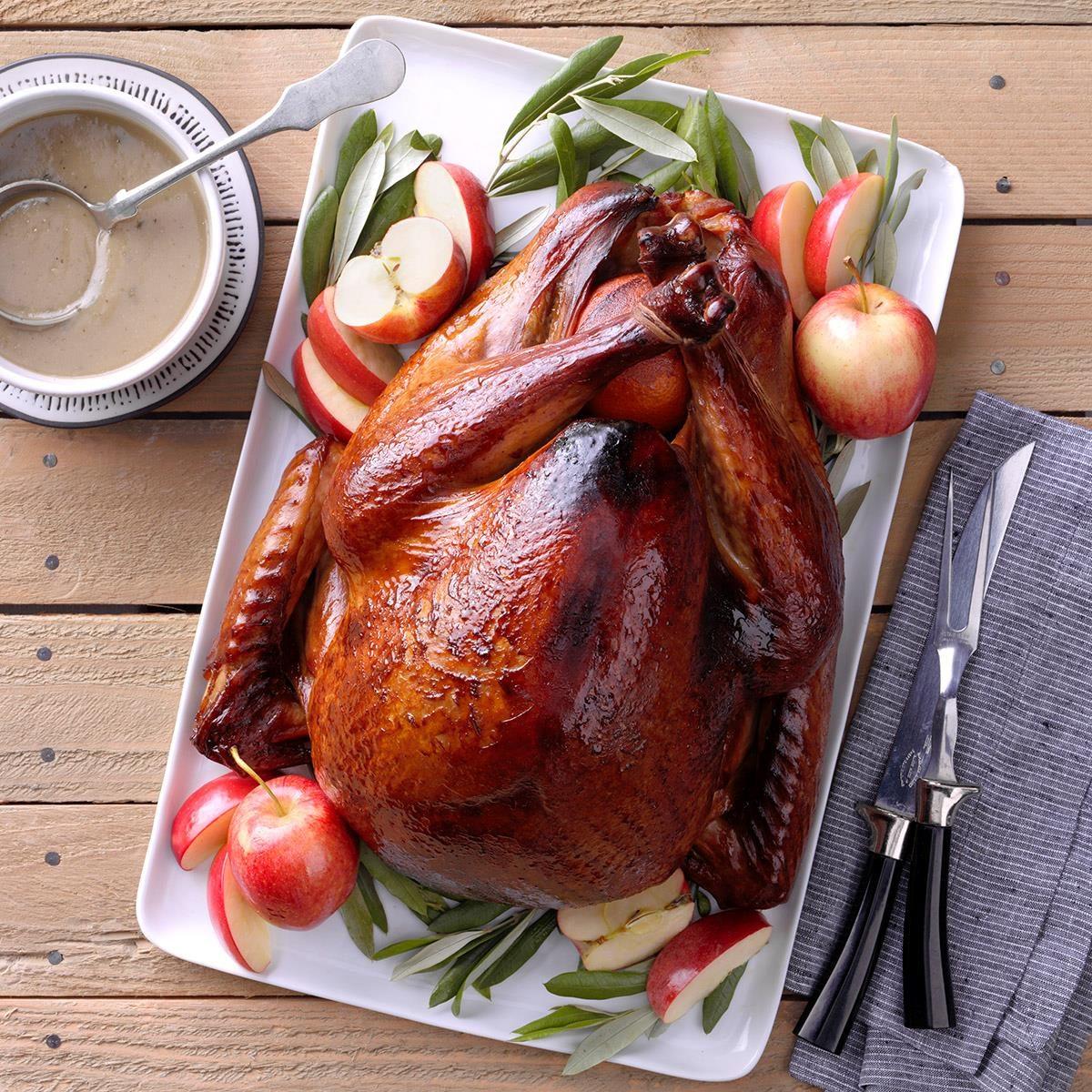 Grilled apple brined turkey