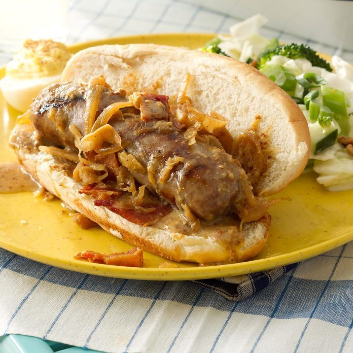 Grilled Beer Brats with Kraut