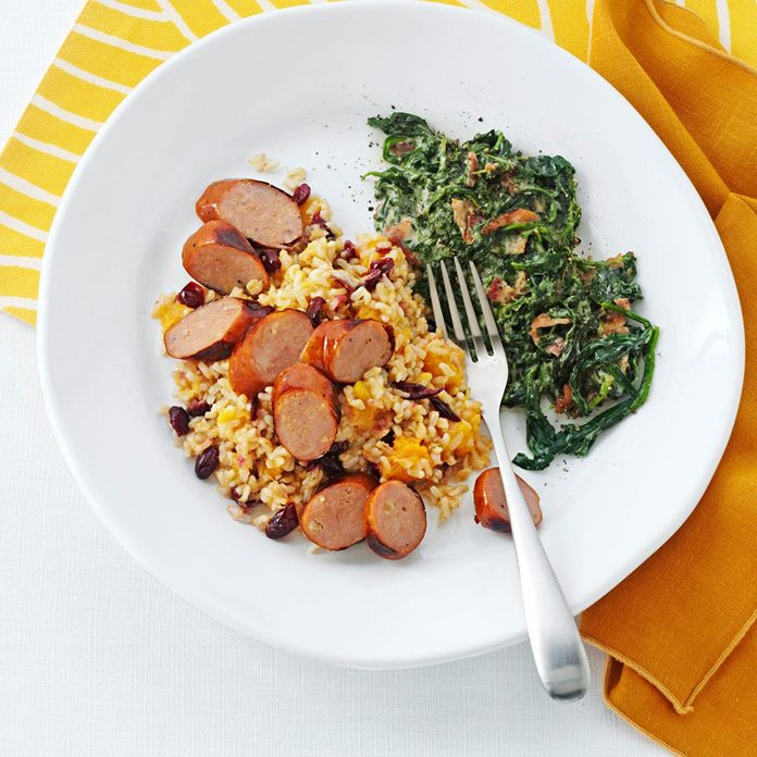 Grilled Chicken Sausages with Harvest Rice