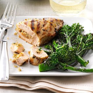 Grilled Chicken with Herbed Stuffing