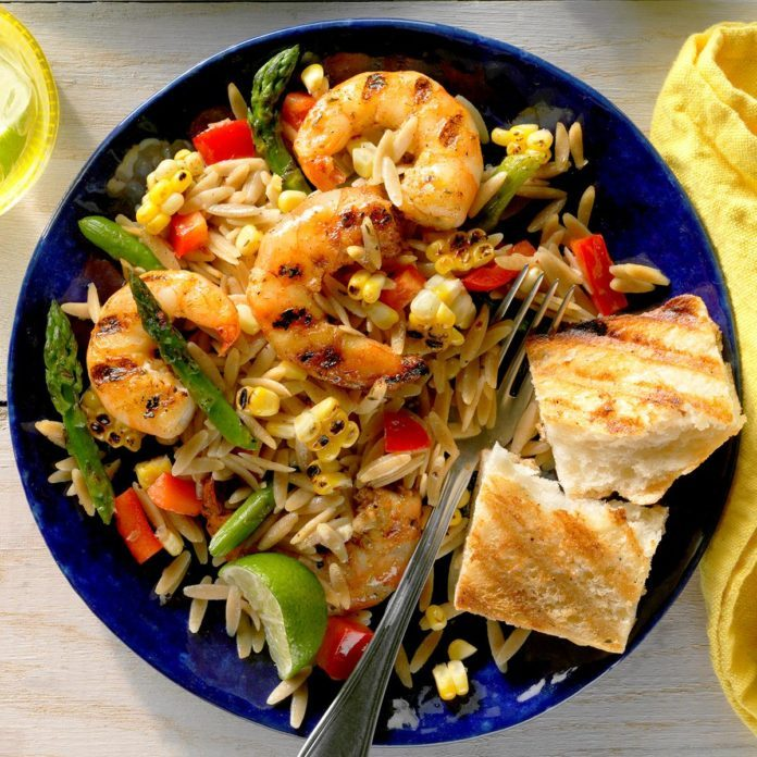 Grilled Jerk Shrimp Orzo Salad