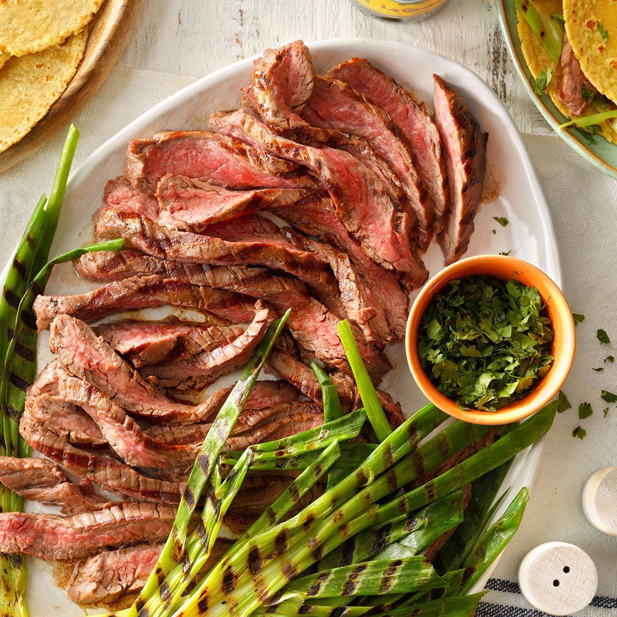 Grilled Onion & Skirt Steak Tacos Recipe | Taste of Home