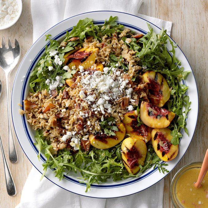 Grilled Peach, Rice & Arugula Salad