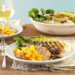 Grilled Pork Chops with Peach Sauce