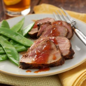 Grilled Pork Tenderloin with Peachy Barbecue Sauce