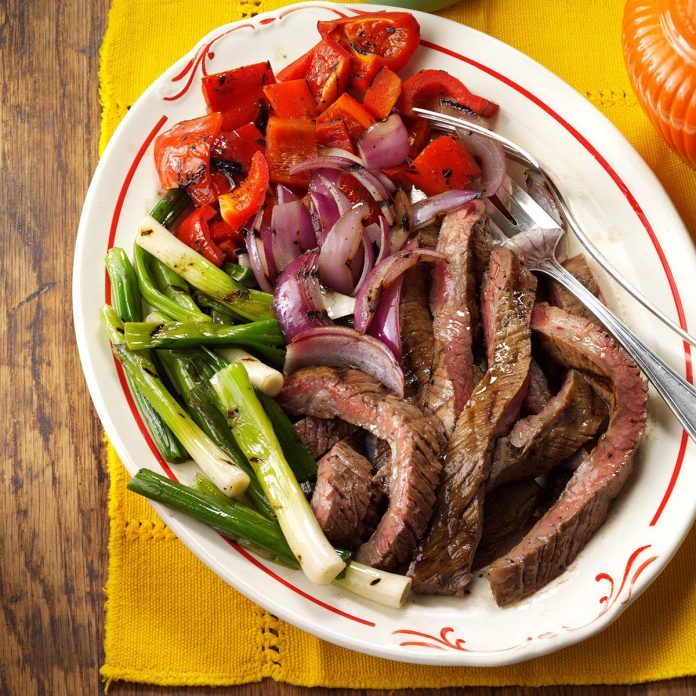 Day 26: Grilled Skirt Steak with Red Peppers & Onions