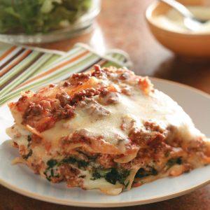 Ground Beef Spinach Alfredo Lasagna