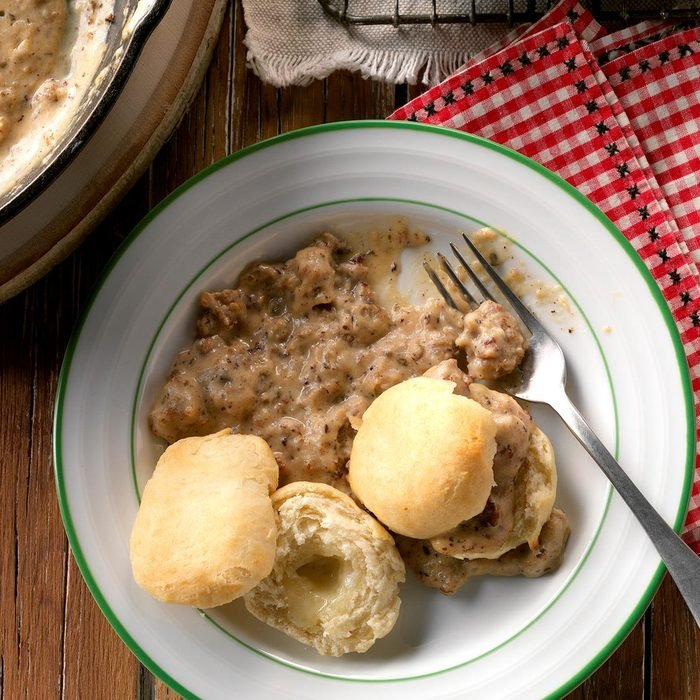 Herbed Sausage Gravy over Cheese Biscuits