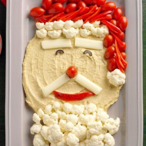Holiday Hummus and Veggie Santa Tray