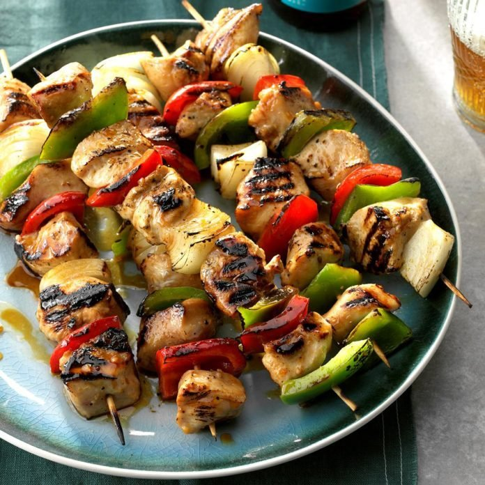 Honey glazed chicken kabobs