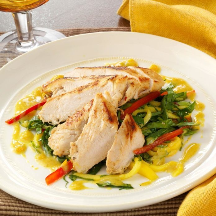 Island Chicken with Mango Slaw and Curry Sauce