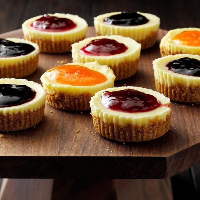 J: Jam-Topped Mini Cheesecakes