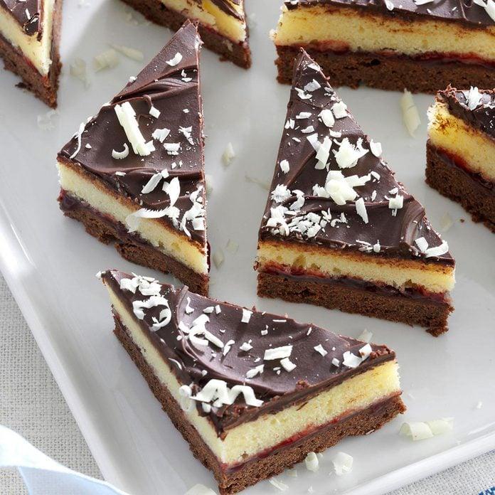 Layered Chocolate-Raspberry Triangles