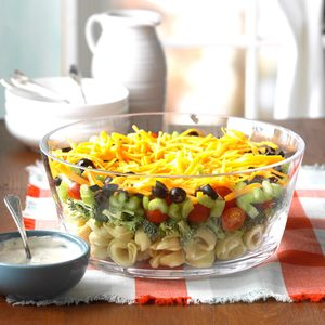 Layered Veggie Tortellini Salad